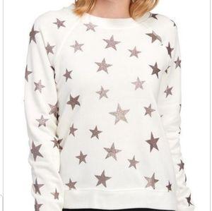 Betsy Johnson puffed rose gold star sweatshirt szM